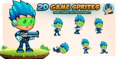 SpaceBoy 1000 2D Game Character Sprites