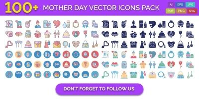 100 Mother Day Vector Icons Pack