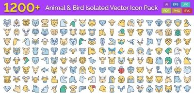 1200 Animal and Bird Isolated Vector Icons Pack