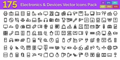 175 Electronics and Devices Vector Icons Pack