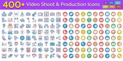 400 Video Shoot And Production Isolated Vector