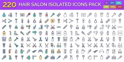 220 Hair Salon Isolated Vector Icons Pack