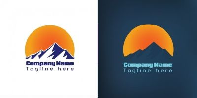 Mountain Logo With Moon Light