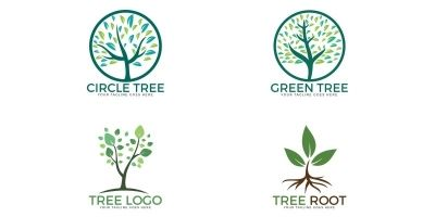 Set Of Tree Logos