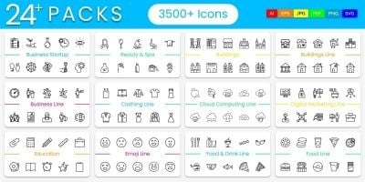3500 Line Vector Icons Pack