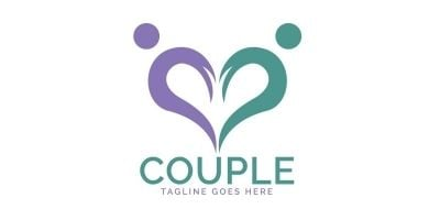 Heart Couple Logo Design