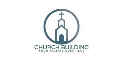 Church Building Vector Logo Design