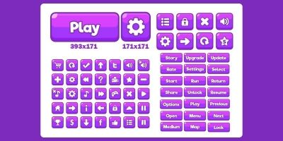 Game UI Purple Buttons GUI Kit