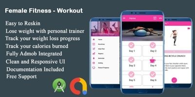 Female Fitness Workout - Android Studio Code