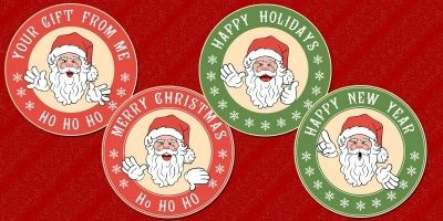 Santa Sticker Templates