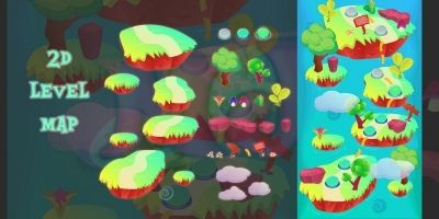 Island 2D Game Level Map