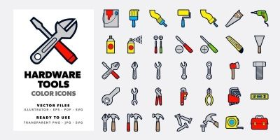 Hardware Tools Icons Set