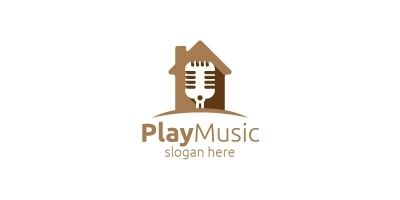 Music Logo with Microphone and Home Concept
