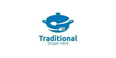 Traditional Food Logo for Restaurant or Cafe