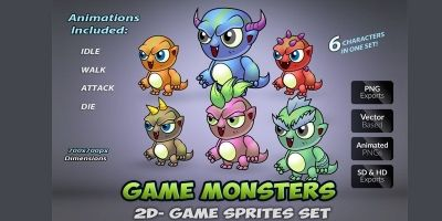 6 Monsters Game Sprites Set