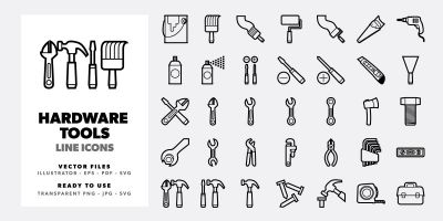 35 Hardware Tools Line Icons Set