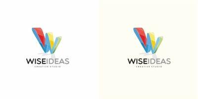 Wise Ideas W Letter Logo