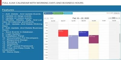 FULL AJAX CALENDAR WITH WORKING DAYS AND BUSINESS