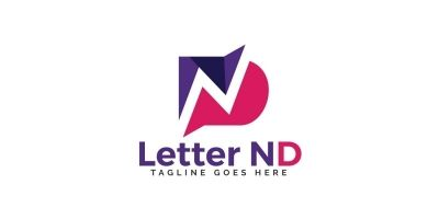 Initial Letter ND Vector Logo Design