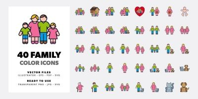 Family Color Icon Set