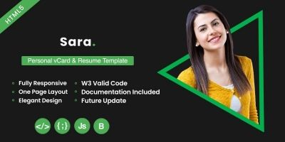 Sara Personal VCard And Resume Template