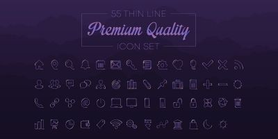 55 Thin Line Premium Quality Icon Set