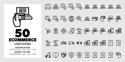 50 Ecommerce Line Icons