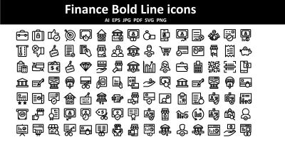 Finance Bold Line icons