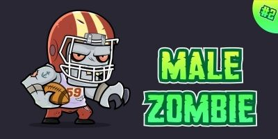 Male Zombie 2D Game Character Sprites 02