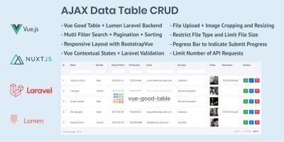 AJAX Data Table CRUD with Vue.js And Lumen Laravel
