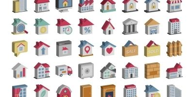 Real Estate Isometric Vector Icons