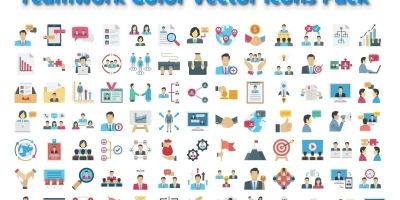 Teamwork Icons Color Vector icons