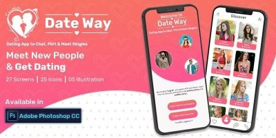 Date Way- Dating App UI - PhotoShop PSD