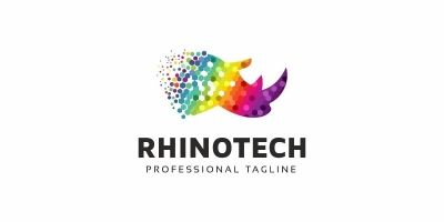Rhino Colorful Polygon Logo