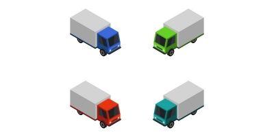 Isometric Truck On White Background