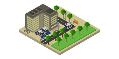 Isometric Police Station In Vector