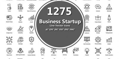 1275 Business Startup Line Vector Icons