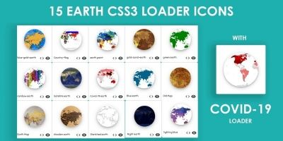 15 Earth CSS3 Loaders With 15 Different Themes