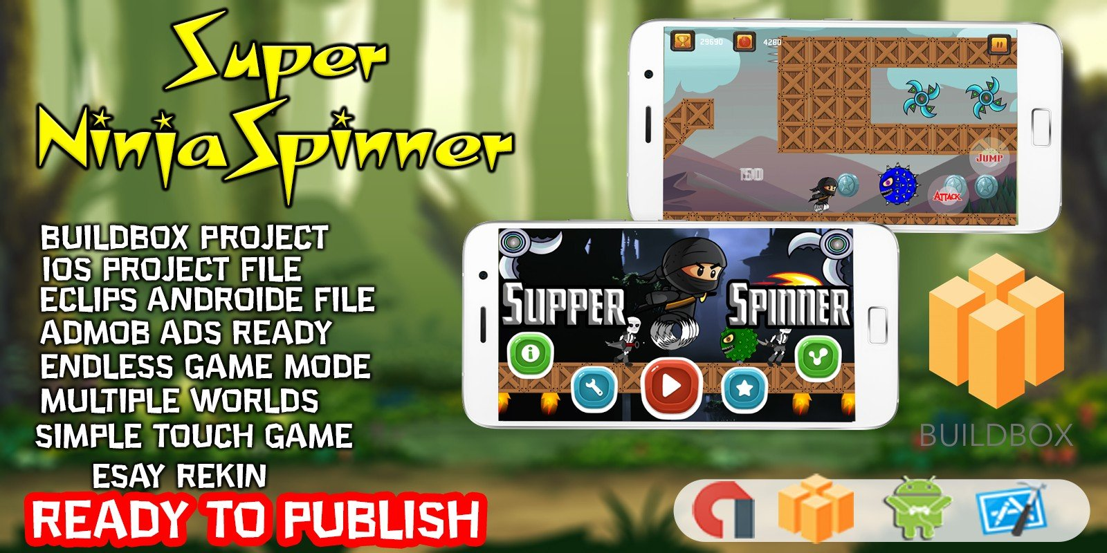 Super Ninja Spinner - Buildbox Template
