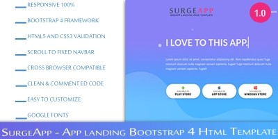 SurgeApp – Bootstrap HTML Landing Page
