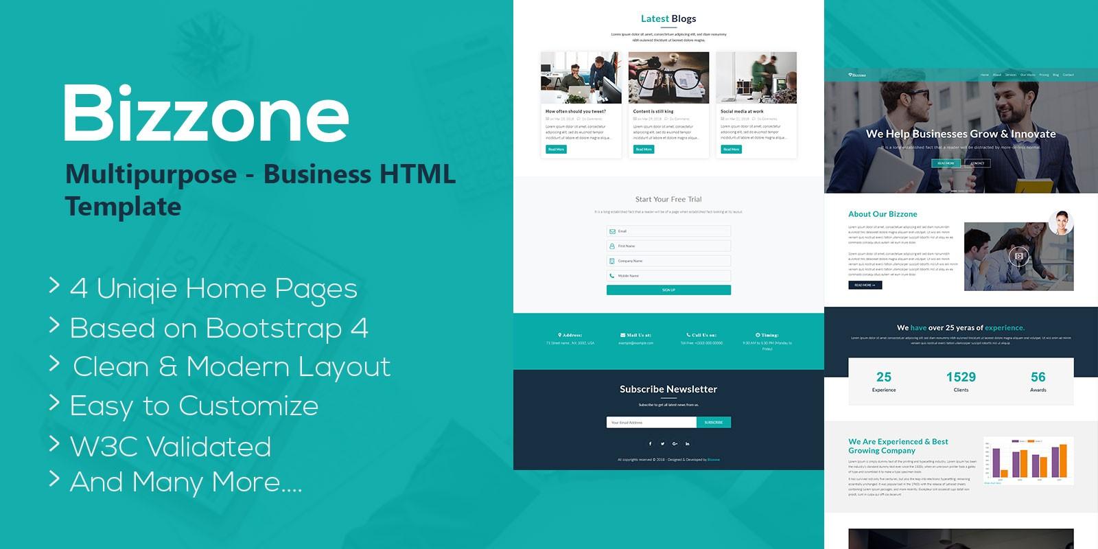 Bizzone - Multipurpose Business HTML5 Landing Page