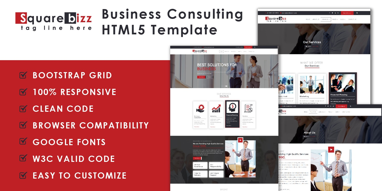 Square Bizz - Consulting and Corporate Template
