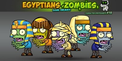 Egyptian Zombies 2D Game Character Sprites 10