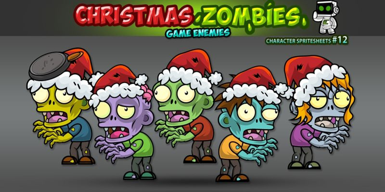 Christmas Zombies  2D Game Character Sprites 12