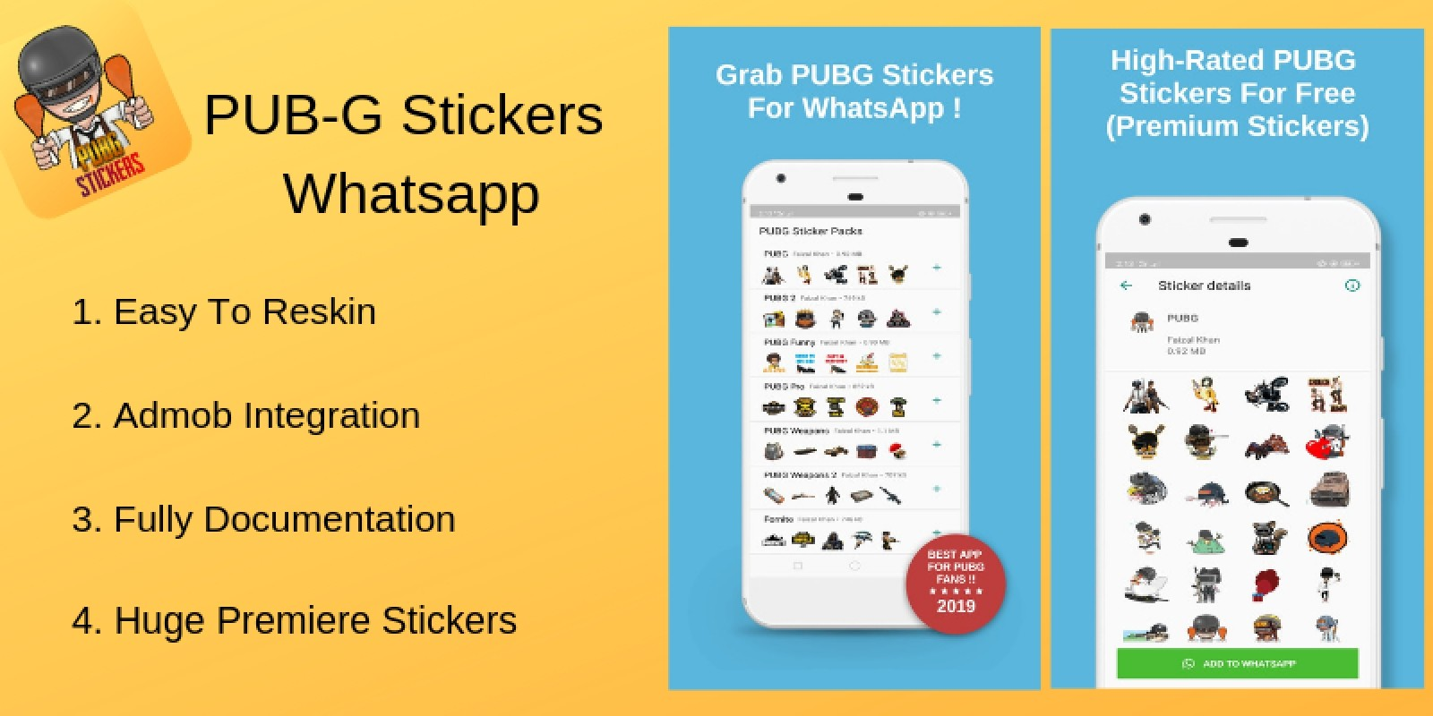 PUBG Whatsapp Stickers - Android Source Code
