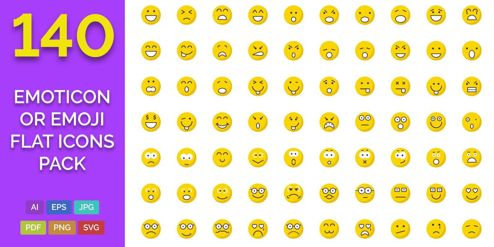 140 Emoticon or Emoji Flat Icons Pack