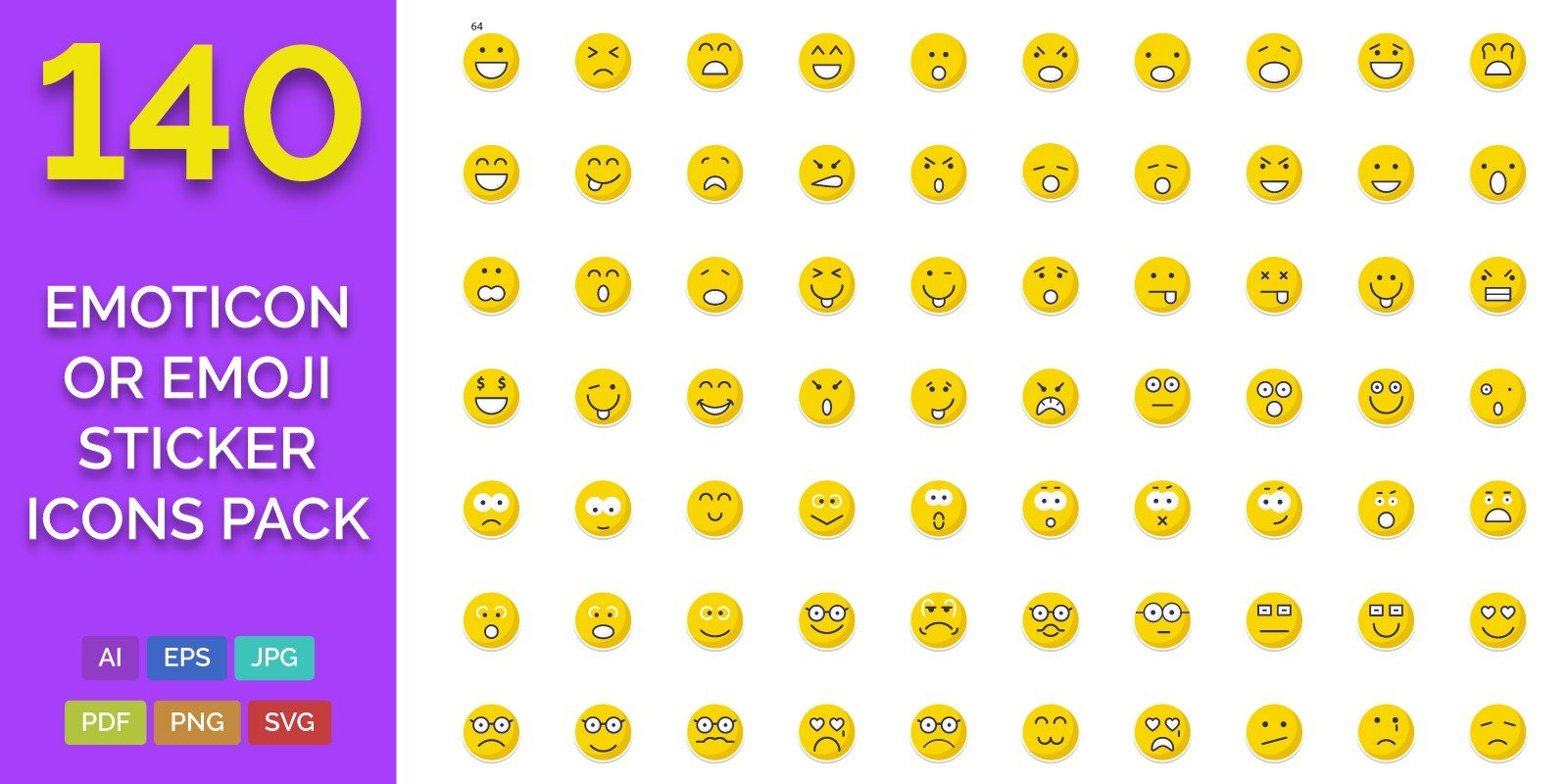 140 Emoticon or Emoji Sticker Icons Pack