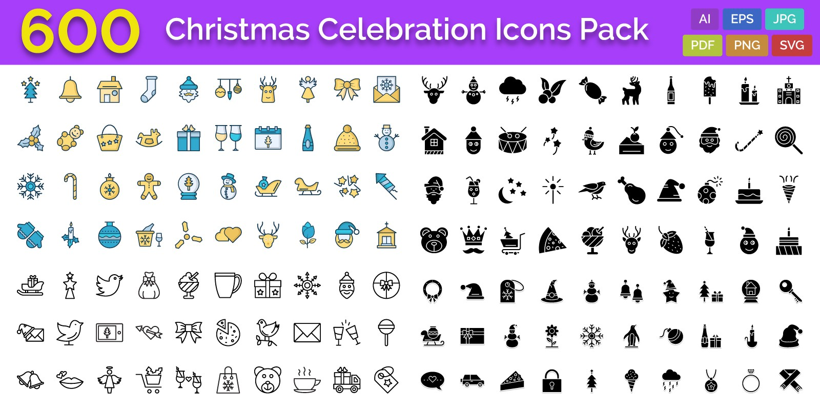 600 Christmas Celebration Vector Icons Pack