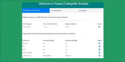 Kpesa CodeIgniter Installer
