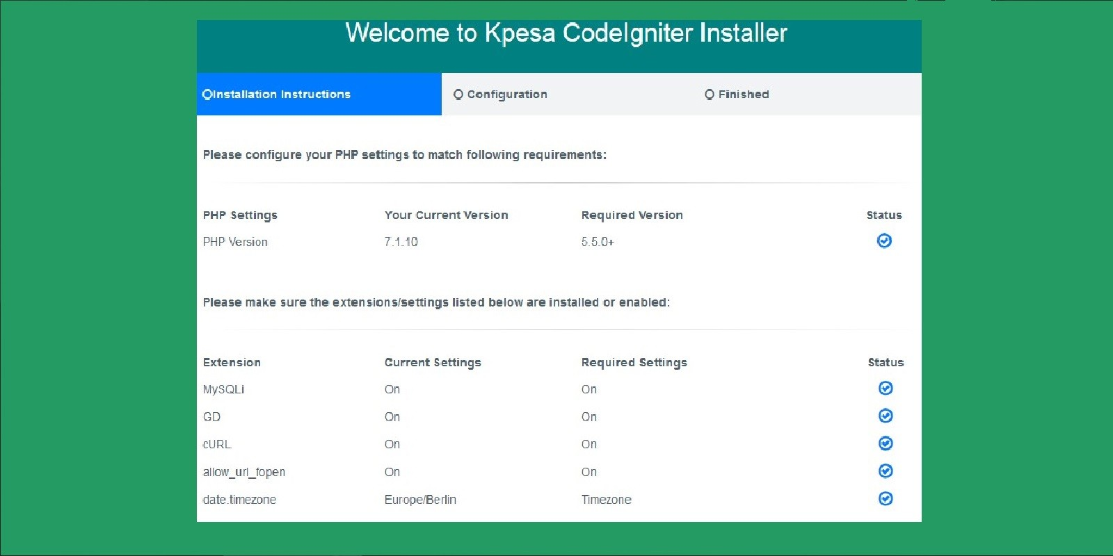 Kpesa CodeIgniter Installer